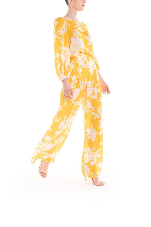 Pantalone a fiori giallo e panna Poupine