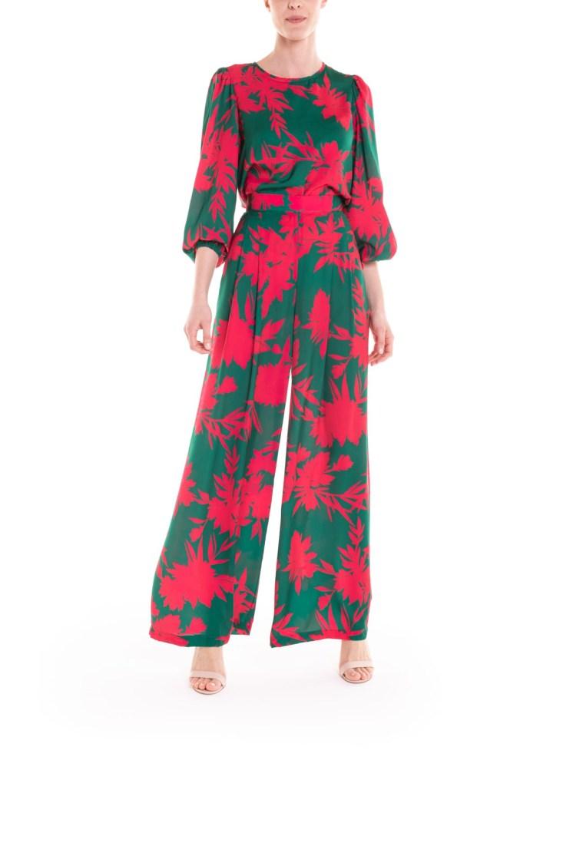 Pantalone a fiori verde e fucsia Poupine