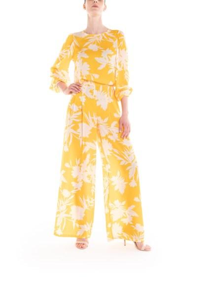 Top a fiori giallo e panna Poupine