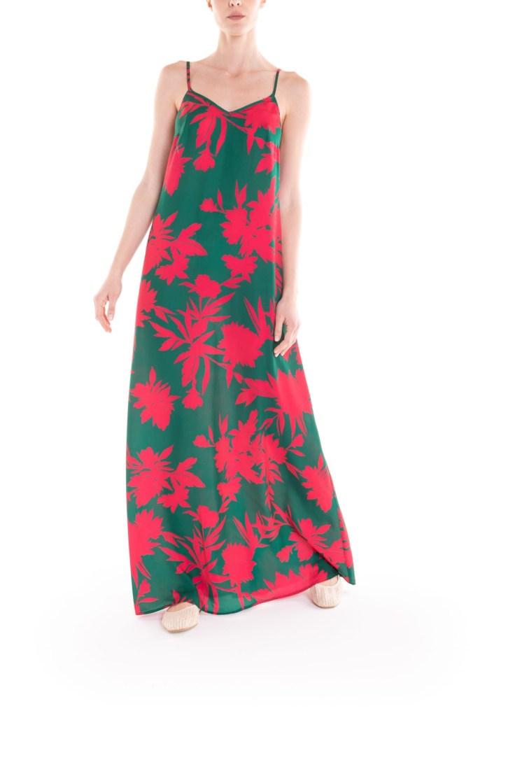Vestito con bretelline a fiori verde e fucsia Poupine