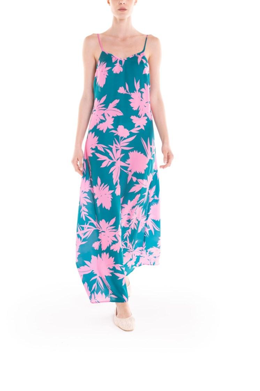 Vestito con bretelline a fiori verde e rosa Poupine