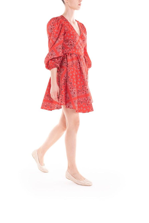 Vestito corto a portafoglio – bandana rossa Poupine
