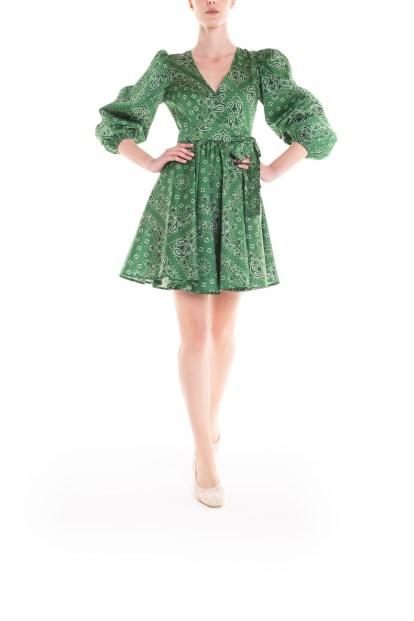 Vestito corto a portafoglio – bandana verde Poupine