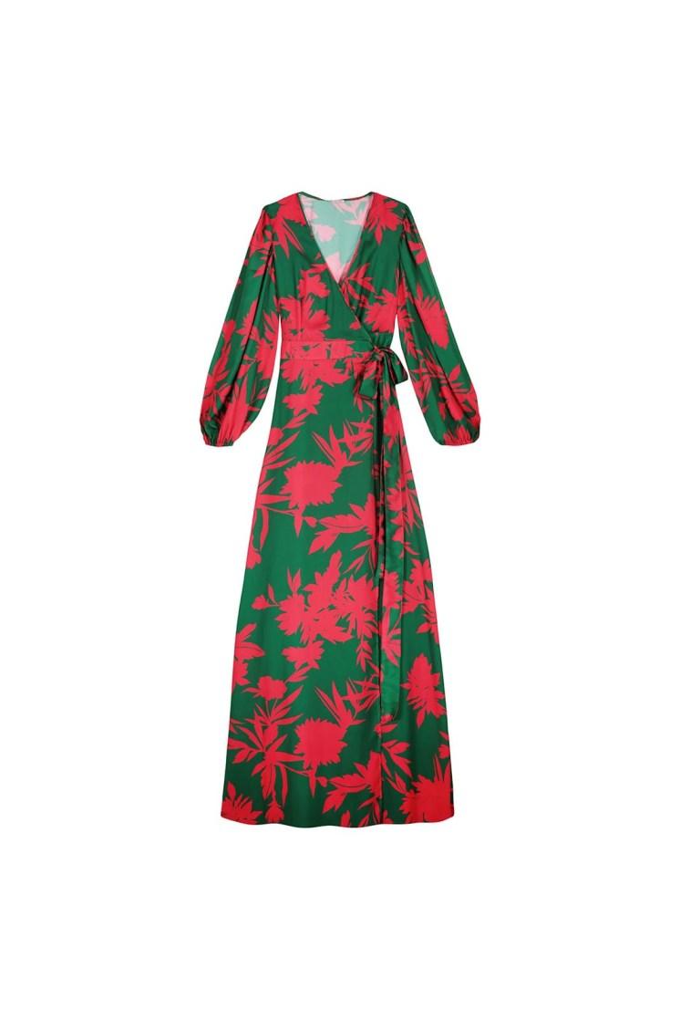 Vestito portafoglio lungo a fiori verde e fucsia Poupine