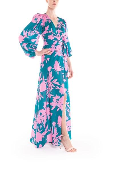 Vestito portafoglio lungo a fiori verde e rosa Poupine