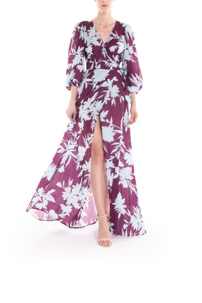 Vestito portafoglio lungo a fiori celeste e bordeaux Poupine