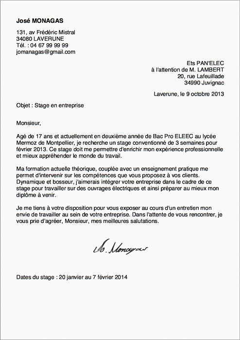 Exemples De Modèles Lettre De Motivation Stage Seconde Bac Pro