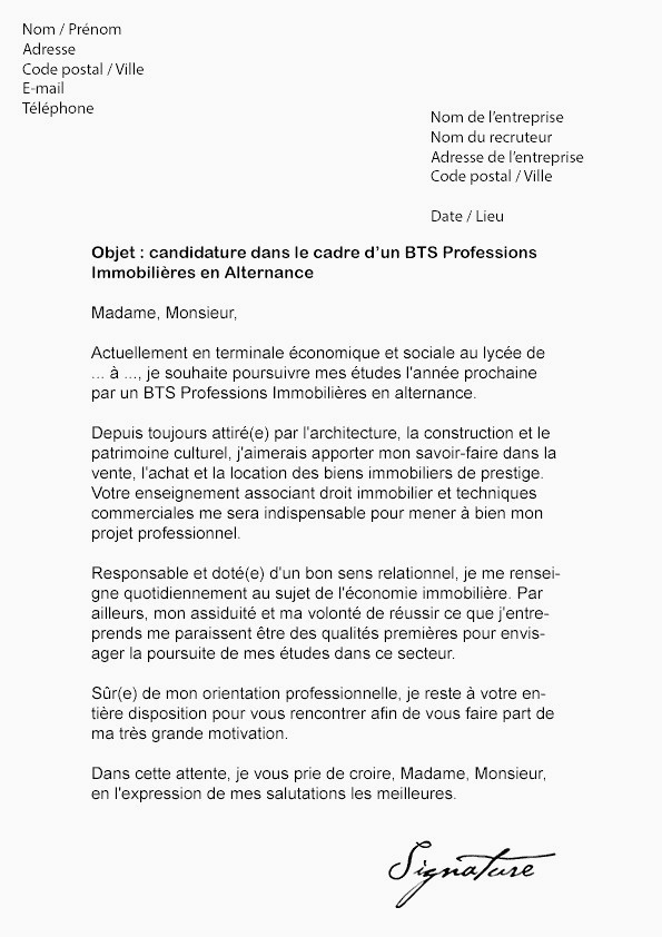 Lettre De Motivation Bts Nrc Alternance Lettre De Motivation Bts Nrc Alternance