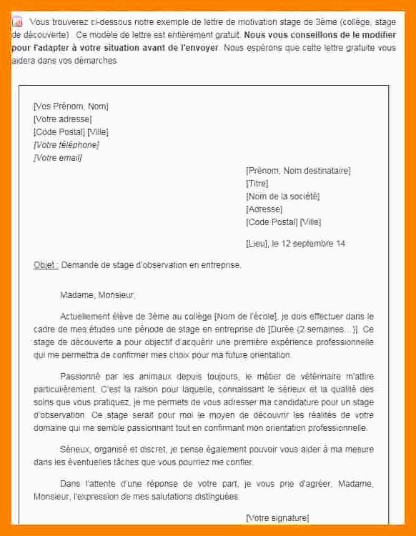 Lettre De Motivation Stage 3eme Commerce Lettre De Motivation Stage 3eme Veterinaire Génial Lettre Exemples