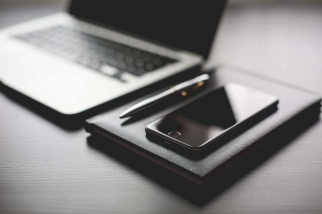 all-black-working-setup-diary-and-iphone-picjumbo-com