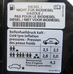 pression dans trappe à carburant