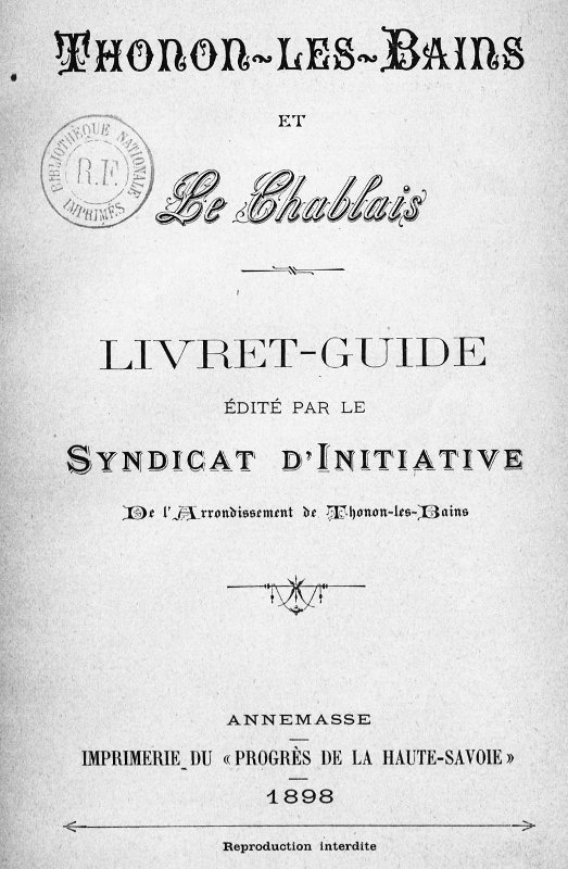 Livret-guide édité par le syndicat d'initiative de Thonon en 1898