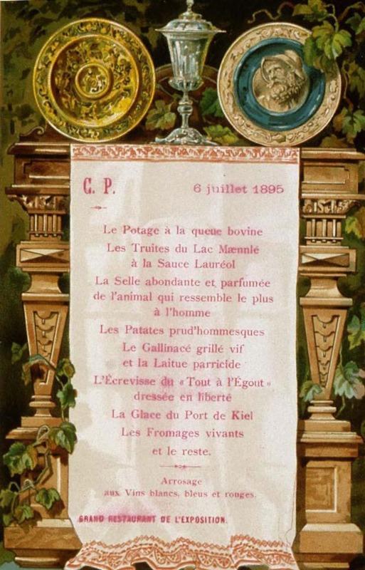 Menu. 6 juillet 1895. Grand restaurant de l'exposition