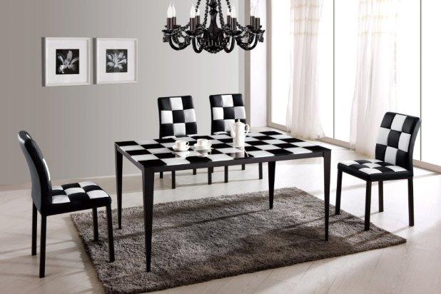 High-grade-stainless-steel-modern-dinner-font-b-table-b-font-BH72-black-font-b-painting 25 Elegant Black And White Dining Room Designs