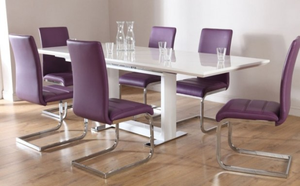 Modern-Chairs-Purple-Color-With-Glossy-Silver-Backrest-And-Glossy-White-Rectangular-Table-at-Contemporary-Dining-Room Discover the 10 Uncoming Furniture Trends