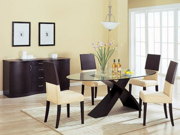 Cream-Dining-Interir-Brown-Chest-Cabinet-Contemporary-Dining-Room-Tables 45 Most Stylish and Contemporary Dining rooms