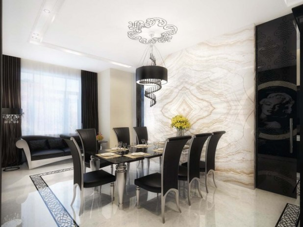 interior-fancy-dramatic-luxurious-black-and-white-and-textural-wall-painting-for-modern-dining-room-designs-cool-ways-to-paint-your-room 45 Most Stylish and Contemporary Dining rooms