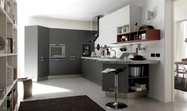 Open-Modern-Kitchen-with-Black-White-and-Grey-Furniture 45 Elegant Cabinets For Remodeling Your Kitchen