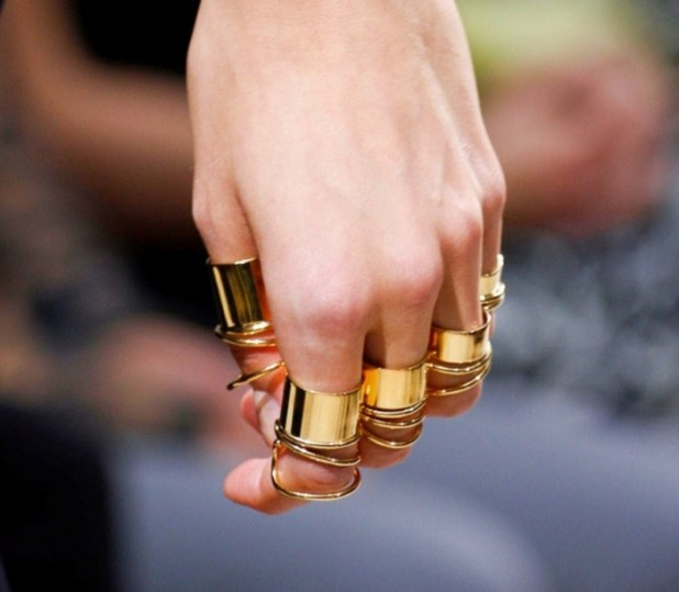 balenciaga-spring-summer-2013-gold-all-finger-rings Hottest Christmas Jewelry Trends 2015