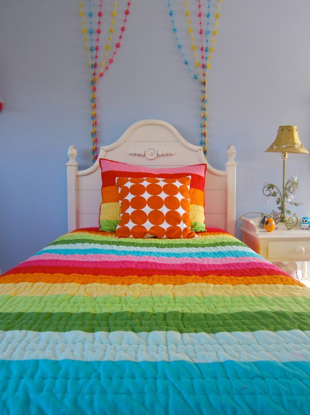 Inspired-Beaded-Curtains-trend-Los-Angeles-Contemporary-Kids-Inspiration-with-beaded-strings-Bedroom-colorful-cottage-dots-girl-kids-light-blue-walls-nightstand-rainbow-stripes 5 Stylish Bedroom Designs For Your Comfort