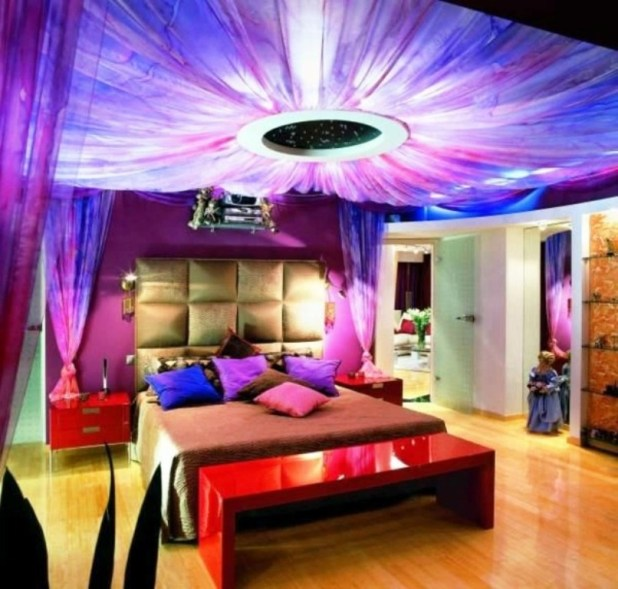 glamorous-ceiling-design-for-creative-colorful-bedroom-ideas_luxury-elegant-headboard_red-glossy-bench-nightstands_modern-stylish-bedspread_purple-rooms-walls 5 Stylish Bedroom Designs For Your Comfort