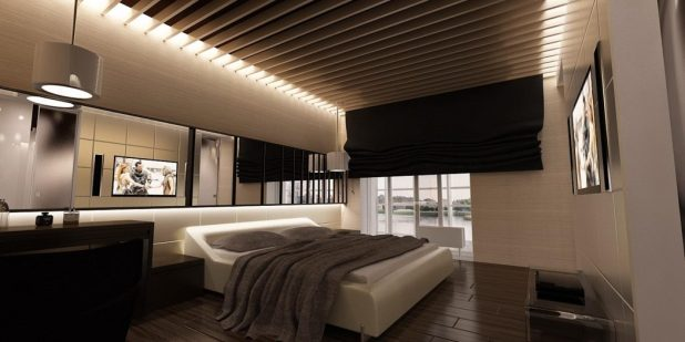 gorgeous-modern-bedroom-design-with-wooden-floor-and-ceiling-decoration-also-stylish-bed-and-wall-decorating-mirror-modern-floor-bed 5 Stylish Bedroom Designs For Your Comfort