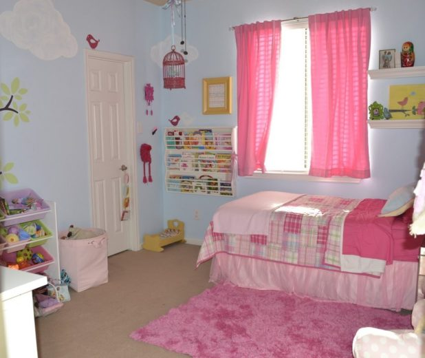 joyful-little-girl-bedroom-with-pink-curtain-also-shag-area-rug-and-creative-wall-bookshelf-design 5 Stylish Bedroom Designs For Your Comfort
