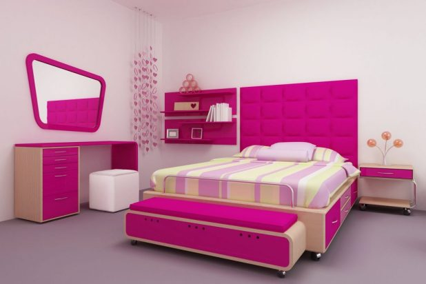graceful-teenage-girls-bedroom-decorating-ideas-with-movable-wooden-platform-beds-be-equipped-storage-drawers-on-the-right-side-and-pink-upholstered-fabric-king-headboard-shapes-next-to-floating-books 5 Stylish Bedroom Designs For Your Comfort