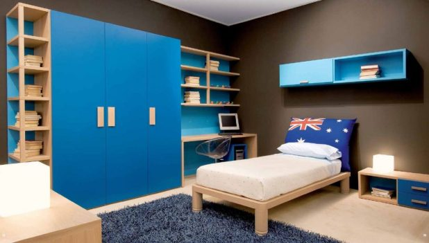 terrific-boys-room-ideas-cool-boy-teen-ideas-decorating-design-with-light-wood-bed-along-white-mattress-along-blue-floating-shelf-and-corner-wooden-desk-and-chair-plus-large-blue-cabinet-storage-books 5 Stylish Bedroom Designs For Your Comfort