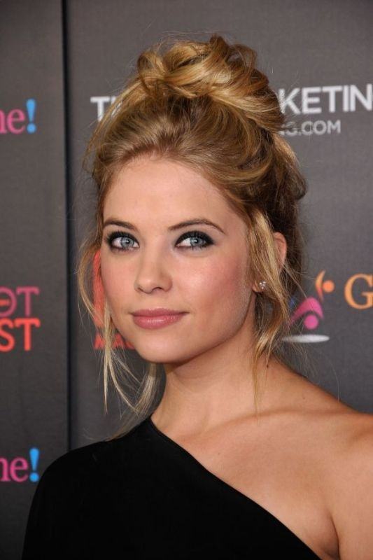Ashley Benson - Messy and Sleek High Bun Hairstyle