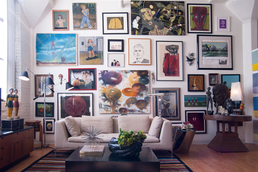 Wall-decor-collage-living-room-eclectic-with-8 5 Outdated Home Decor Trends That Are Coming Again in 2018