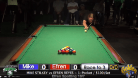 Mike Stilkey playing Efren Reyes in October 2015.