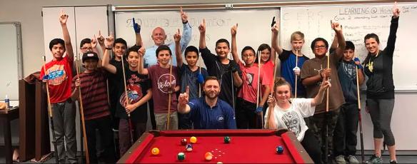 Steve Strange w/ his youth billiard academy in San Diego County