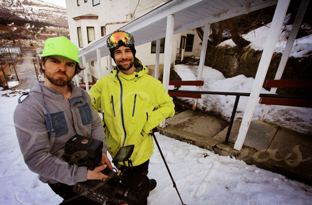 Dave Mossop of Sherpas Cinema with JP Auclair, right, last March in Trail, B.C., during filming for 'All.I.Can.' Photo: Sherpas Cinema