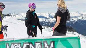 Sarah Burke and a camper. Photo; COURTESY MOMENTUM CAMPS