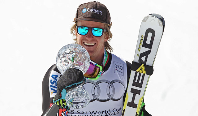Ted Ligety who celebrated his giant slalom Crystal Globe victory last March at Lenzerheide, Switzerland, did not finish Saturday's giant slalom at Val d'Isere, France. PHOTO: Courtesy of ESPA's Mitchell Gunn.