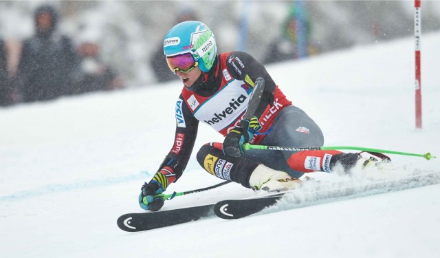 Ted Ligety on course in the men's Birds of Prey giant slalom course Sunday. PHOTO: Jack Affleck of Vail Resorts