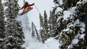 Nick McNutt skiing at Chatter Creek while filming with TGR