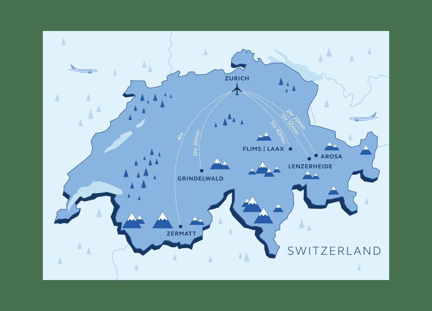 Ski Resorts Near Zurich Aiport | Skiing in Switzerland ... on map zermatt, map cities in switzerland, map ski resorts in france, map hotels in switzerland,
