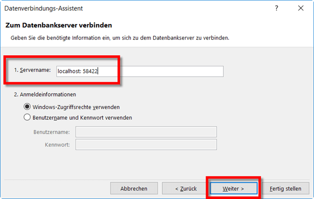 Connection via localhost & port number