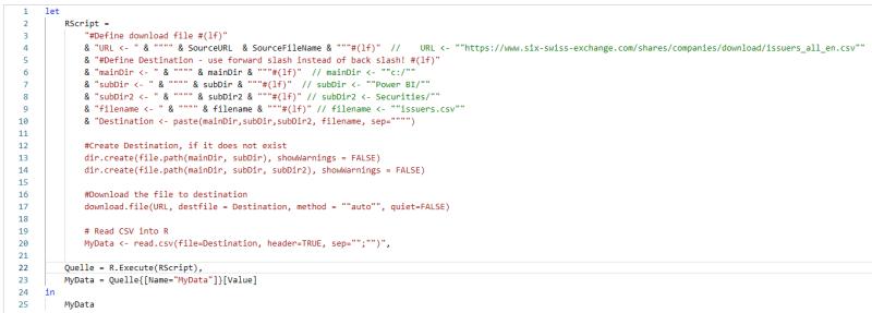 M Code mit dynamischen R Skript