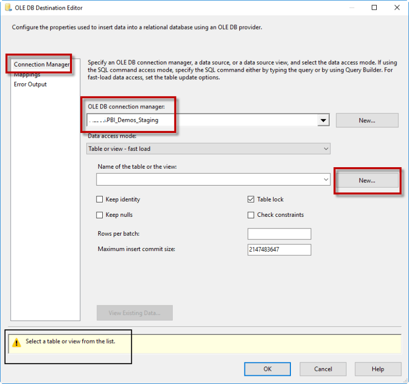 Create new SQL Table