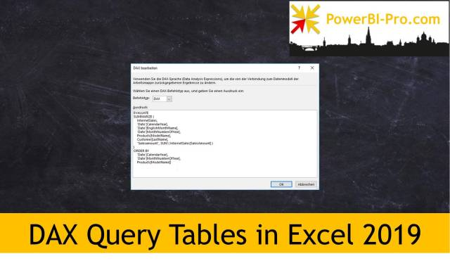 DAX Query Tables in Excel 13 - Power BI