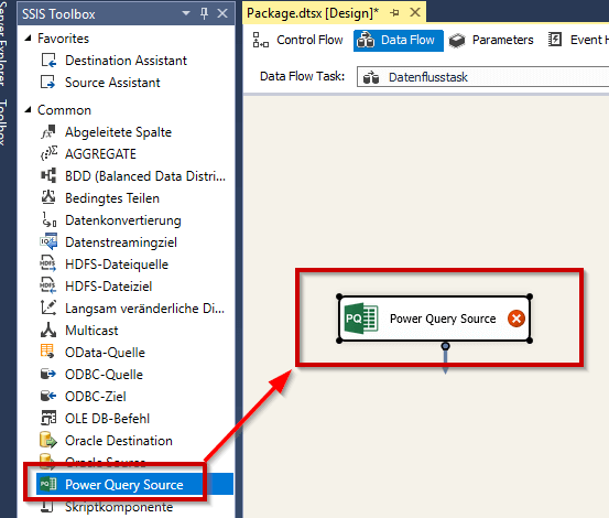 Power Query Source in the Data Flow