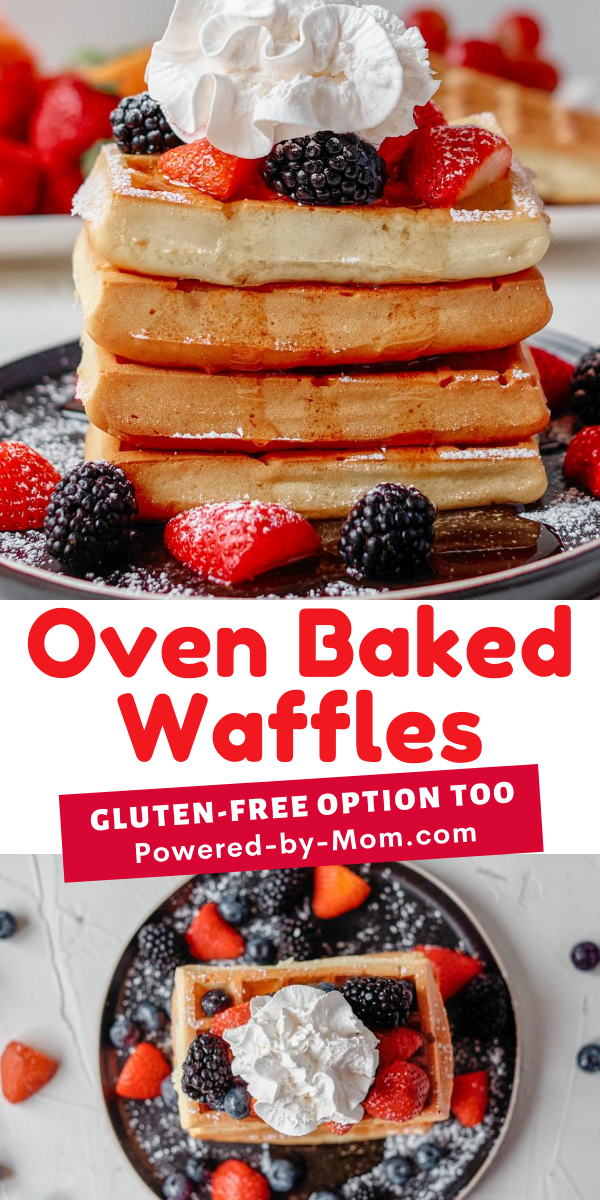 This oven-baked waffles recipe is easy to make gluten-free and ideal for weekday or weekend breakfast! Add your favorite toppings whether they are sweet (our favorite) or savory & enjoy.