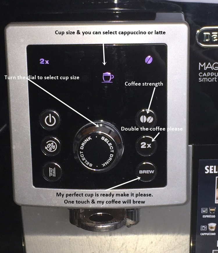 delonghi coffee settings