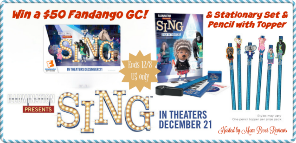 $50 Fandango GC & #SingMovie Prize Pack Giveaway