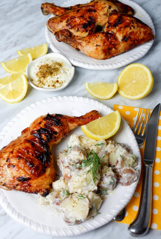 Greek-Style Chicken Legs and Potato Salad
