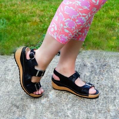 Waldlaufer Taylor in Camo Black Sandals for Women