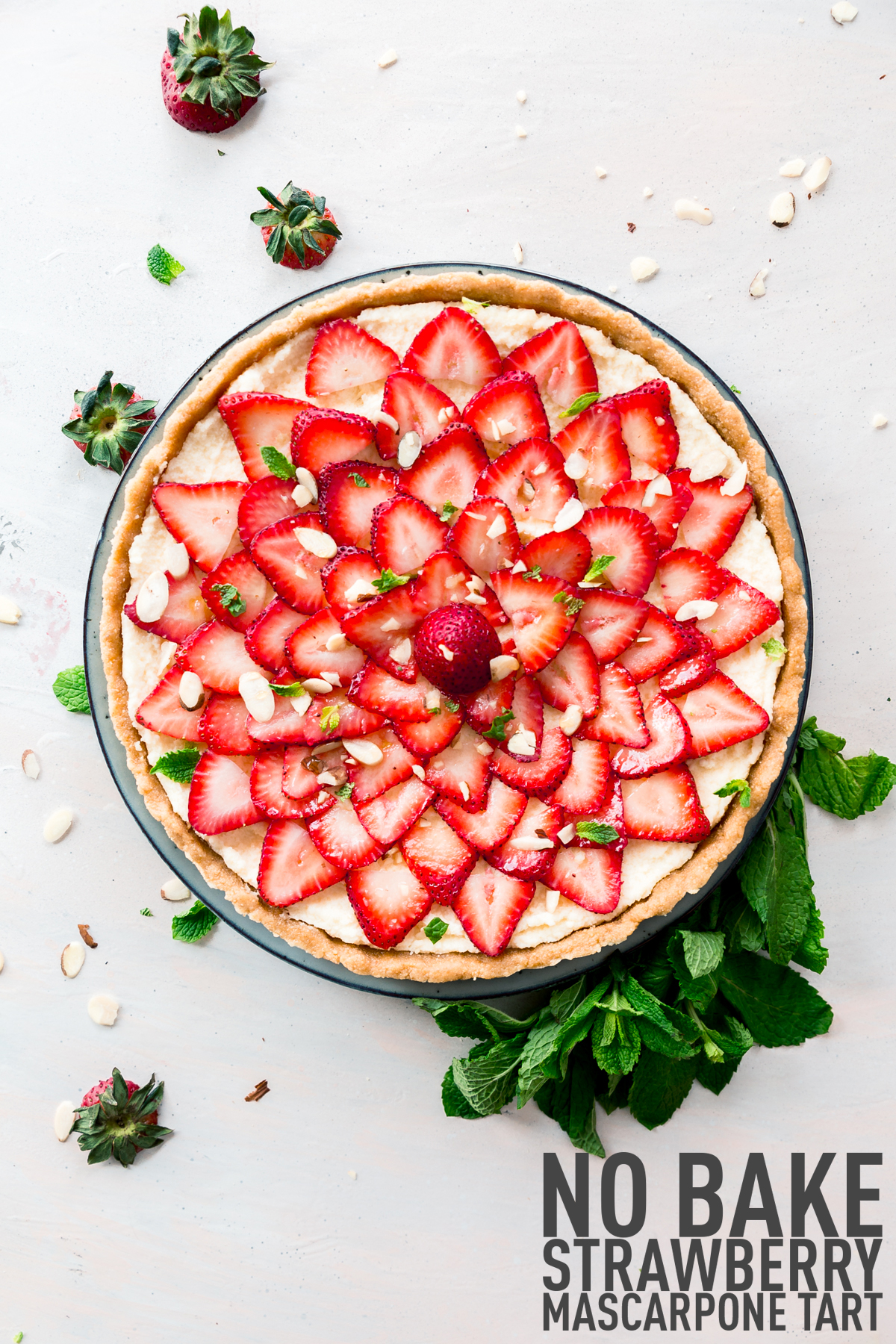 No-Bake Strawberry Mascaropone Tart made with fresh fruit and mascarpone cheese. Perfect for mother's day or any occasion.